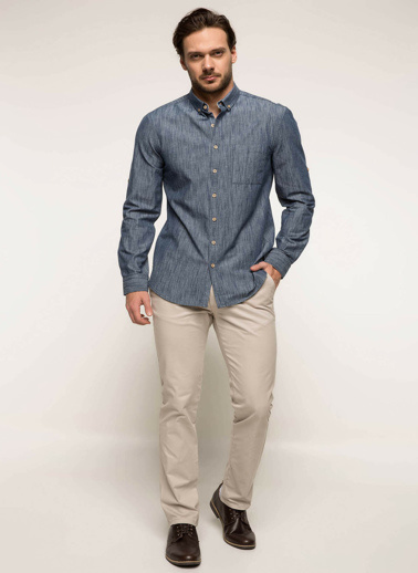 DeFacto Polo Yaka Slim Fit Gömlek Mavi